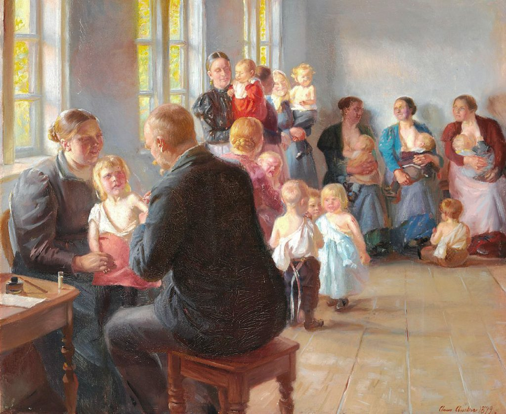 A Vaccination, a painting by Ann Archer, 1899
