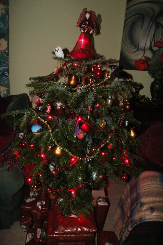 Christmas tree indoors, decorated with lights, tinsel,  baubles and a red fairy.